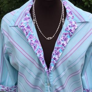 Shirt top blouse button tunic 3/4 sleeves
